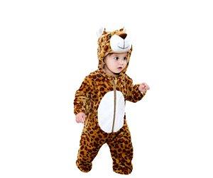 Macacão de Pelúcia Leopardo Bebê Tam 20 meses