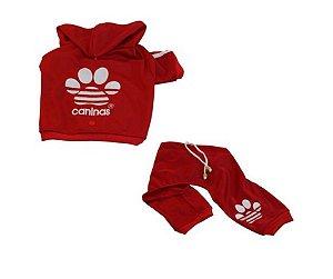 Conjunto Agasalho Caninas Vermelho Pet P