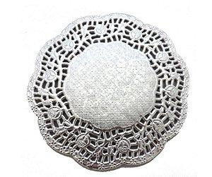 Papel Rendado Doilies 10 cm Prata 20 unidades