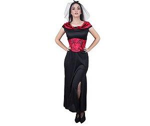 Fantasia Vampira Longo tam M - Adulto - Usado
