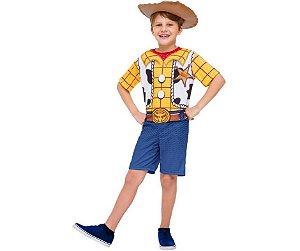 Fantasia Macacão Curto Woody Toy Story 4 inf tam P 3 a 4 anos