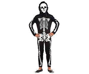 Fantasia Macacão Esqueleto Infantil Tam M