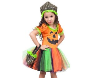 Fantasia Vestido Abóbora Infantil Tam 6