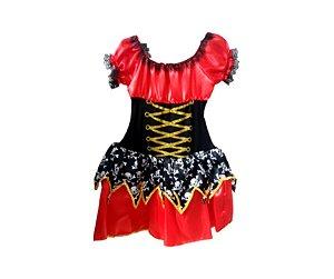 Fantasia Vestido Pirata Vermelho Infantil tam 8