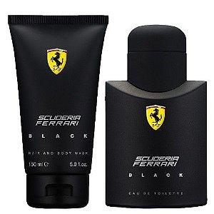 Kit Ferrari Black Eau de Toilette Masculino- Perfume 75 ML + Hair And Body Wash 150 ML