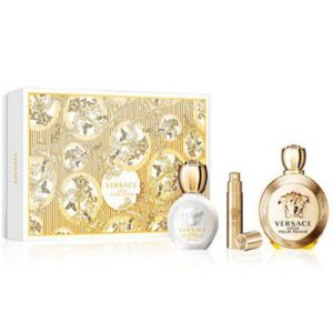 Kit Eros Pour Femme Versace- Perfume Feminino Eau de Parfum 100 ML+Body Lotion 100 ML+ Miniatura 10 ML