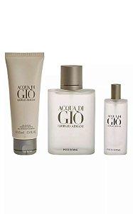 Kit Acqua Di Gio Homme Giorgio Armani - Perfume Masculino 100ml + Miniatura de 15 ML + Gel de Banho 75 ML