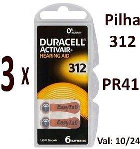 18 Pilhas Auditivas Duracell Activair 312/PR41