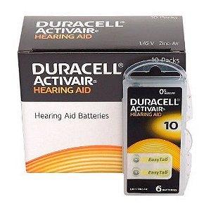 10 Cartelas de Pilhas Auditivas Duracell 10 (60 pilhas)