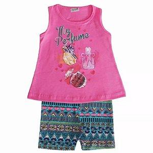 Conjuntos Infantis Meninas Com Blusa Regata E Capri Fakini,