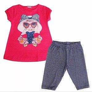 Conjunto Infantil Feminino De Blusa E Capri Fakini