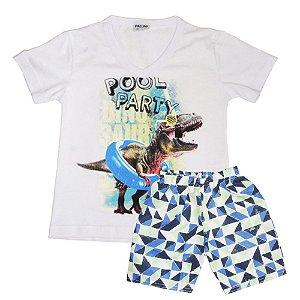 Conjunto camiseta decote V e Bermuda na marca fakini
