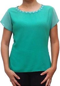 Blusa Feminina Verde Com Pérola
