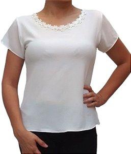 Blusa Feminina Branca Com Pérola