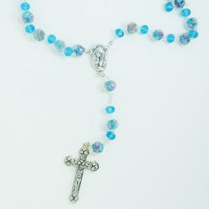 Terço Murano Cristal Azul 12mm