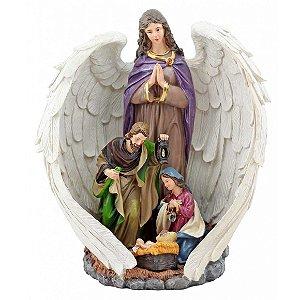 Presépio Anjo com Sagrada Família 30 CM