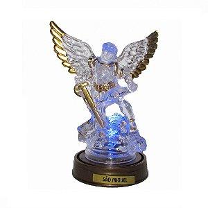 São Miguel Acrílico - Led Azul E Base Ouro Velho 13 CM