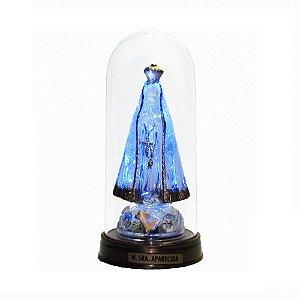 Nossa Senhora Aparecida Acrílico - Led Azul E Redoma com Base Ouro Velho 13 CM