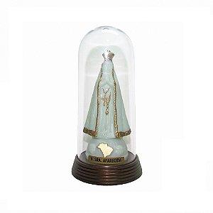 Nossa Senhora Aparecida Acrílico e Redoma com Base Ouro Velho 13 CM