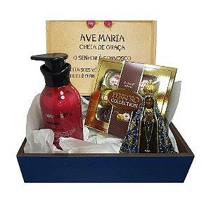 Kit Presente - Caixa Decorada Nossa Senhora Aparecida + Imagem Nossa Senhora Aparecida + Loção Hidratante + Caixa de Bombom Ferrero Collection