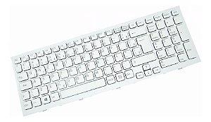 Teclado P/ Notebook Sony Vpc-eh Branco C/ Moldura