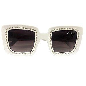Óculos de Sol Unissex Branco com Strass