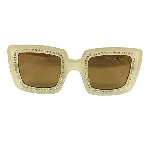 Óculos de Sol Unissex Creme com Strass