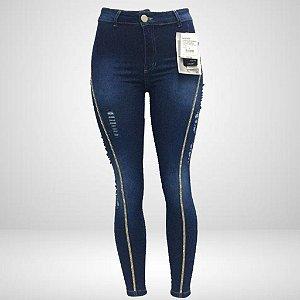 Legging Jeans Feminina com fita Strass Lateral