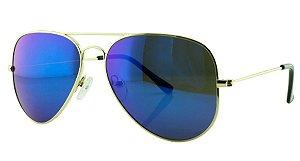 Óculos Solar Aviador Unissex Primeira Linha 3026 Azul Espelhado