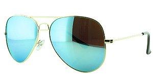 Óculos Solar Aviador Unissex Primeira Linha OC3026 Azul Claro Espelhado