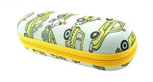 Estojo para Óculos Solar Infantil M130 Estampa Táxi com Zíper Amarelo