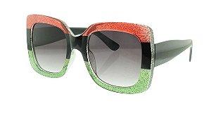 Óculos Solar Feminino Primeira Linha T10003 Vermelho e Verde