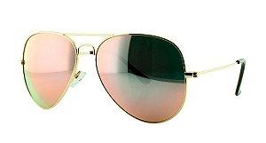 Óculos Solar Unissex Primeira Linha Aviador 3025 Rosa Espelhado