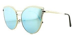 Óculos Solar Feminino AP8807 Azul Espelhado