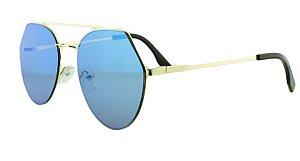 Óculos Solar Feminino K6185 Azul Espelhado