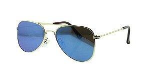 Óculos Solar Infantil Aviador Azul Espelhado