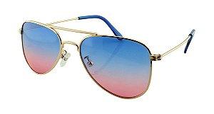 Óculos Solar Infantil Aviador Azul e Rosa