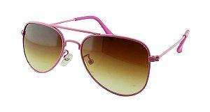 Óculos Solar Infantil Aviador Rosa e Marrom