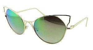 Óculos Solar Feminino Sortido HT2688 Dourado Espelhado