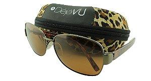 Óculos Solar Feminino Polarizado 3129R Marrom com Estojo Déjàvu
