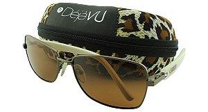 Óculos Solar Feminino Polarizado 3132R Marrom com Estojo Déjàvu