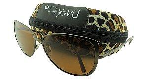Óculos Solar Feminino Polarizado E87R Marrom com Estojo Déjàvu