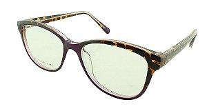 Armação para Óculos de Grau Feminino VC5203 Roxa e Marrom Onça