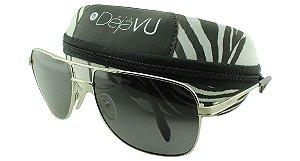 Óculos Solar Masculino Polarizado 3103R Prata com Estojo Déjàvu