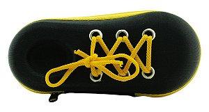 Estojo para Óculos Solar Infantil com Zíper M185 Preto e Amarelo