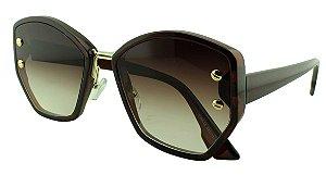 Óculos Solar Feminino Primeira Linha S98512 Marrom Degradê