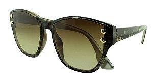 Óculos Solar Feminino Primeira Linha S98511 Onça e Prata