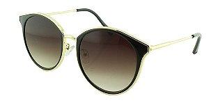 Óculos Solar Feminino Primeira Linha 2687 Dourado e Preto