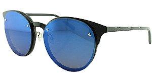 Óculos Solar Unissex 5696 Preto e Azul Espelhado