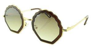 Óculos Solar Feminino Primeira Linha T25 Marrom e Dourado